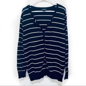 August Silk   Black and White Striped Cardigan